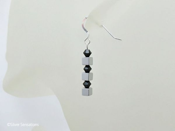 Silver Plated Hematite Cube Beads Sterling Silver Earrings & Swarovski Crystals | Silver Sensations